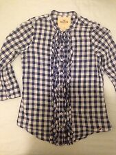 hollister women blue & white checked grandad collar ruffled shirt blouse Xs/6/8