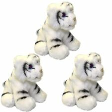 Set of 3 White Tiger 13cm Soft Toys - Small Plush Tigers
