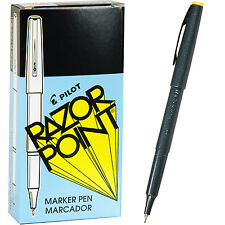 Pilot Razor Point Pens 11001, Black 0.3mm Extra Fine Plastic Point Pen, 1 Dozen