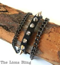 Vintage style Punk Black Leather Bracelet with Spikes and Chain Bling