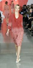 TORY BURCH Red Stripe Silk Top Size 4, A Runway Collection