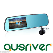 "1080P 4.3"" LCD 170° Dual Car Camera Video DVR Recorder Rearview Mirror Reversing"