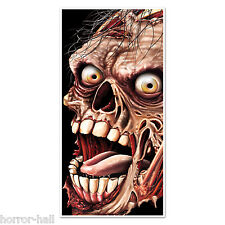 Creepy Giant ZOMBIE HEAD FACE DOOR COVER MURAL Halloween Horror Prop Decoration