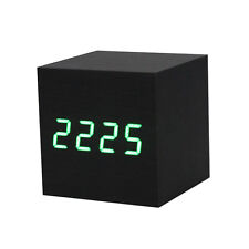 1PC Digital LED Black Wooden Wood Desk Alarm Brown Clock Voice Control B3N6