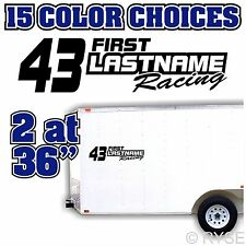 Custom Name Number Race Trailer Decal Team Car IMCA Model Modified Sprint Stock