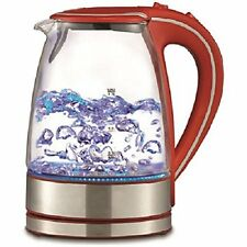 Red Cordless Electric Hot Water Tea Kettle Glass Stainless Steel 50oz