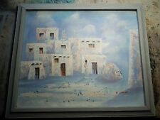 AFRICAN VILLAGE Oil Canvas Vintage Mid-Century Painting signed K.Mescal 23x27