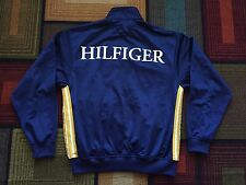 Retro Tommy Hilfiger Full ZIP Track Jacket Spellout sz Small TH Crest Logo Blue