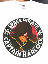 XXL SPACE PIRATE CAPTAIN HARLOCK SIZE  T-SHIRT SKULL & CROSSBONES ANIME