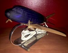Original 1978 Sarsaparilla DC-3 Airplane Light Lamp - Cobalt Blue Art Deco