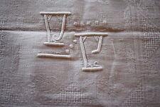 Service de table nappe 280 x 158 cm + 12 serviettes damassé monogramme