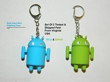 Pair Android Robot Style Keychain Blue LED Eyes Cool Sound Effects Green Blue