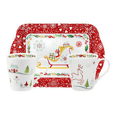 Pimpernel Christmas Wish Twin Porcelain Mug & Melamine Tray Set Xmas Gift New