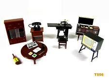 6pcs set Dollhouse Miniature Japan Furniture TV Record player Cupboard Telephone