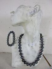 echte Perlenkette Halskette & Armband Schwarze 1,5cm Tahiti  NICHT GEFÄRBT 48cm