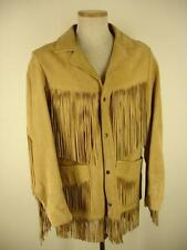 mens S 36 Lariat USA tan suede leather western LONG fringe jacket coat snap Vtg