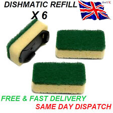 6x Heavy Duty VERDE dishmatic dishmatique SPUGNA Scourer sostituzione RICARICA HEAD