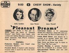 1960 Tv Ad~JULIE LONDON~JOSE FERRER~JANE POWELL~PLEASANT DREAMS~CHEVY SHOW