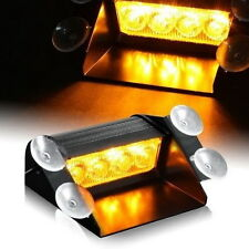 Amber 4 LED Car Emergency Warning Dashboard Dash Visor Strobe Lights 4LED Lamp