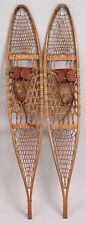 "Vintage SNOWCRAFT Wood Snow Shoes Rawhide LEATHER Binding 10"" x 58"""