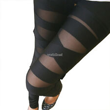 Goth/Punk Ripped Torn Cut-out Slash Stretch Pants Bandage Leggings BLACK  8 - 10