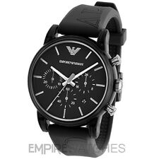 *NEW* MENS EMPORIO ARMANI CLASSIC BLACK RUBBER WATCH - AR1053 - RRP £229.00