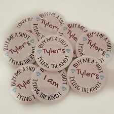 11 PERSONALISED HEN PARTY BADGES. HEN NIGHT BADGES (x10) +1 FOR BRIDE
