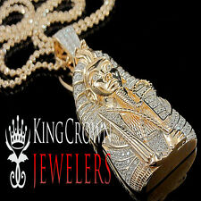 10K Rose Gold On Real Silver King Tut Pendant Lab Diamond Egyptian Pharaoh Chain