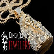 10K Rose Gold On Real Silver King Tut Pendant Lab Diamond Egyptian Pharaoh Chain