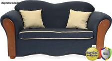 Sofa Loveseat Couch Home Furniture Vintage Style Navy Blue Wood Chair New
