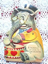 """VINTAGE 40'S  RARE MECHANICAL VALENTINE CARD """"ELEPHANT """"A TRUNKFUL OF LOVE TO MY"""