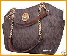 NWT MICHAEL KORS MK SIGNATURE BROWN  JETSET TRAVEL CHAIN SHOULDER TOTE