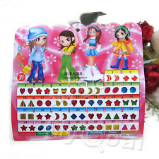 300 X Pcs Kid Girl Crystal Stick on Earring Sticker Toy Body Bag Party Jewellry