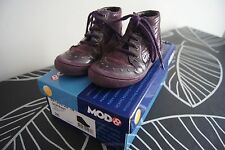 JOLIES CHAUSSURES BOTILLONS CUIR VIOLET MOD8 SO PRINT POINTURE 26 FILLE NEUF