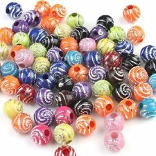 200pcs New Wholesale Colorful Assorted Ripple Round Plastic Spacer Beads 10mm BS