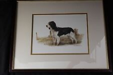 "Joel Kirk Springer Spaniel Dog Print Framed & Matted Under Glass 17"" x 21"" VGUC!"