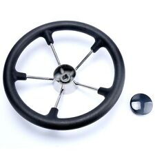 New 13-1/2 Inch Black 5 Spoke Destroyer Steering Wheel - Boat/Marine