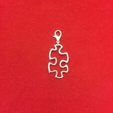 Autism Puzzle Piece Charm with Lobster Clasp for Bracelet, Key Ring, Purse Decor
