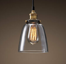 Vintage Ceiling Hanging Pendant Fixture Glass Lamp Shade + Edison Light Bulb