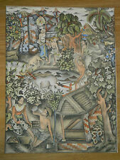 Vintage Asian Balinese traditional hand painting / watercolour on paper