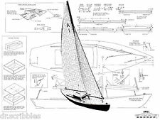 """MODEL BOAT PLANS 37"""" RADIO CONTROL SAILING YACHT PLANS & BUILDING NOTES"""