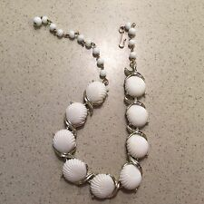 Vintage Coro White Shell Thermoset Cabochon Link Choker Necklace