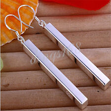 Ladies Genuine 925 Sterling Silver Shiny 65mm Long Bar Dangle Earrings F100