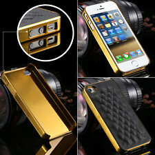 Grid leather gold silver frame cover protection case for iphone 4 4s