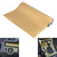 "Gold Carbon Fiber Texture 12""x50"" Dashboard Vinyl Wrap Sticker Decal For Pick up"