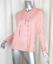 LOUIS VUITTON Womens Pink Coral Cashmere Knit Cardigan Sweater+Shirt Twinset M