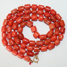ANTIQUE 49cm LONG SALMON CORAL 5.5mm-8mm Beads 9K GOLD CLASP KNOTTED NECKLACE