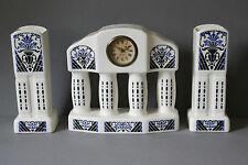 beachtliche Kaminuhr & Beisteller Keramik  MERCEDES