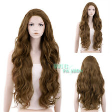 """28"""" Long Curly Brown Lace Front Synthetic Hair Wig Heat Resistant"""