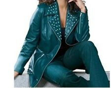 women's Winter100% genuine leather rhinestones jacket racy style coat plus18W 1X